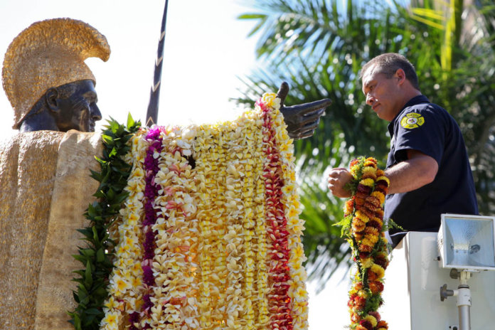 Photo: Fire Captain J. Todd at Lei Draping Ceremony